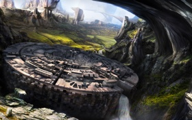 Обои город, скалы, aeternus quiescere