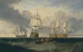 Обои море, волны, лодка, корабли, картина, парус, морской пейзаж