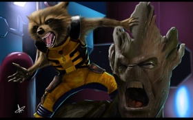 Картинка арт, Rocket, Groot, guardians of the galaxy