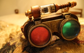 Обои лампа, очки, метал, линзы, steampunk