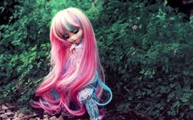 Обои игрушка, кукла, розовые, сидит, кусты, длинные волосы