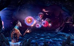 Картинка девка, разума, космоса, глубины, без руки, в очках, существа