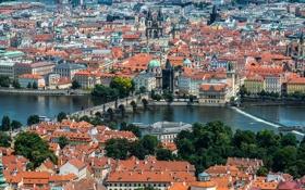 Обои дома, Прага, Чехия, панорама, Карлов мост, река Влтава