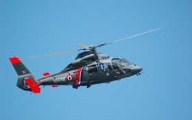 Обои небо, винт, вертолет, вертолёт, лопасти, Eurocopter, лебедка