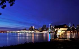 Обои ночь, парк, океан, небоскребы, Канада, Ванкувер, Canada