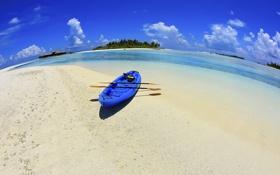 Картинка песок, море, пляж, небо, облака, отдых, лодка