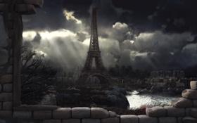 Обои город, башня, Paris 2048