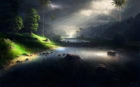 Обои ночь, река, камни, Fel-X