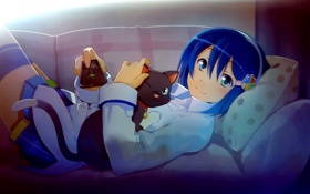 Обои кошка, отдых, аниме, киска, пульт, девочка, неко