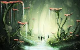 Картинка вода, ручей, фантастика, растения, чаща, арт, путники
