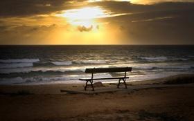 Обои песок, скамейка, фото, настроение, берег, пейзажи, вид