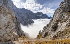 Картинка облака, камни, скалы, гора, Бавария, Альпы, тропинка