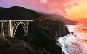 Картинка закат, мост, побережье, Калифорния