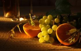 Обои стол, апельсины, бокалы, виноград, фрукты, полумрак, дольки