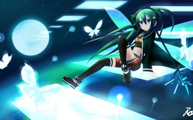 Обои девушка, бабочки, оружие, меч, аниме, арт, rayrard