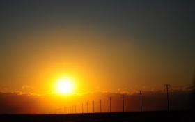 Обои дорога, фото, столбы, пейзажи, красота, вечер, закат солнца