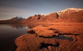 Обои вода, озеро, гора, зеркало