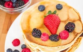 Картинка ягоды, малина, еда, черника, клубника, блинчики, оладьи