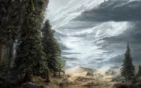 Картинка небо, облака, деревья, рисунок, арт