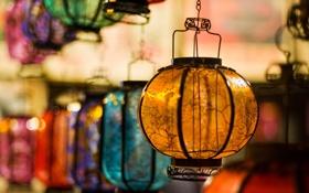Обои colors, glass, lamps, variety
