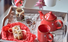 Обои красный, чай, еда, чайник, чашка, посуда, десерт