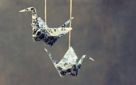 Обои птицы, шпагат, оригами, birds, origami, twine, приостановлено
