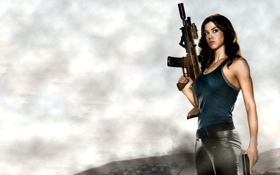 Обои девушка, туманность, пистолет, автомат, Бросок кобры, G.I. Joe: The Rise of Cobra