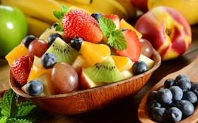 Картинка ягоды, киви, черника, клубника, виноград, десерт, grape