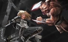 Картинка девушка, оружие, движение, монстр, арт, битва, Diablo 3