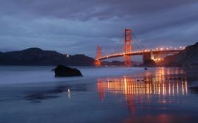 Картинка пляж, мост, город, огни, вечер, сан францыско