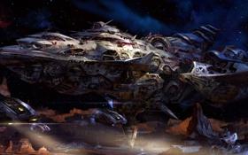 Картинка поверхность, люди, планета, корабли, скафандр, арт, исследование