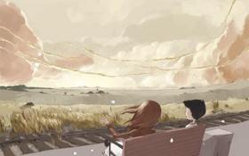 Обои горы, скамейка, ветер, рельсы, мальчик, горизонт, пух