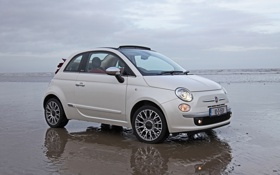 Обои песок, побережье, 500, fiat, кабриолет, вода