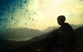 Обои человек, гора, потёртое фото