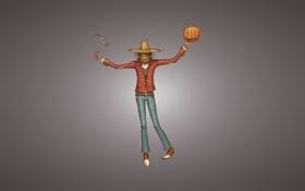 Обои минимализм, шляпа, сено, тыква, коса, halloween, пугало