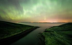 Картинка небо, звезды, ночь, камни, северное сияние, панорама, Финляндия
