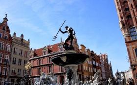 Картинка дома, Польша, Гданьск, фонтан Нептун