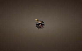 Картинка бомба, минимализм, фитиль, очки, bomb, темноватый фон