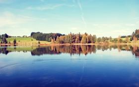 Обои лес, небо, облака, пейзаж, озеро, фото, Природа
