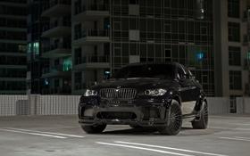Обои x6m, передок, тюнинг, black, чёрный, parking, бмв