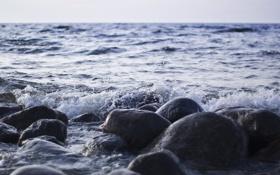 Обои море, камни, волна, залив, финский
