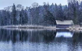 Картинка пейзаж, озеро, дом