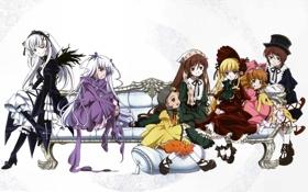 Картинка диван, куклы, белый фон, Suigintou, Rozen Maiden, Barasuishou, Shinku