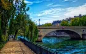 Картинка деревья, река, Франция, Париж, дома, фонари, канал