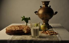 Обои пирог, яблоки, стакан, Самовар, яблоко, молоко, скатерть