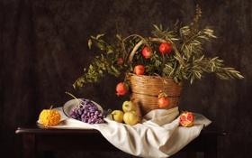 Обои яблоки, виноград, тыква, натюрморт, гранат