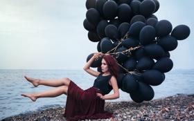 Картинка море, пляж, девушка, шарики, поза, макияж, наряд