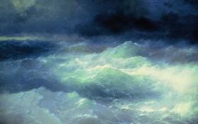 Обои море, шторм, Айвазовский, 1898, Среди волн