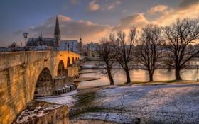 Обои закат, Regensburg, Бавария, вечер, город, берег, Регенсбург