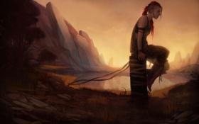 Обои девушка, озеро, скалы, арт, рыжая